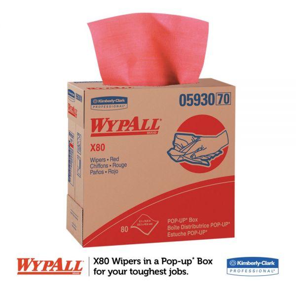WypAll* X80 Cloths with HYDROKNIT, 9.1 x 16.8, Red, Pop-Up Box, 80/Box, 5 Box/Carton