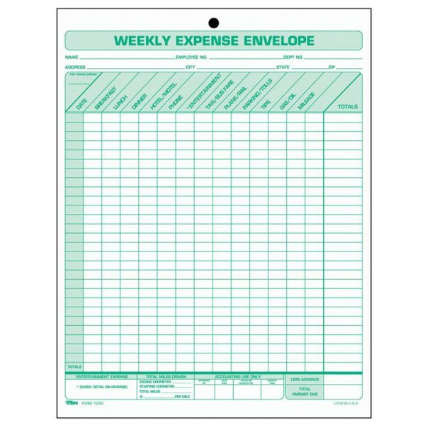 TOPS Weekly Expense Envelope, 8 1/2 x 11, 20 Forms