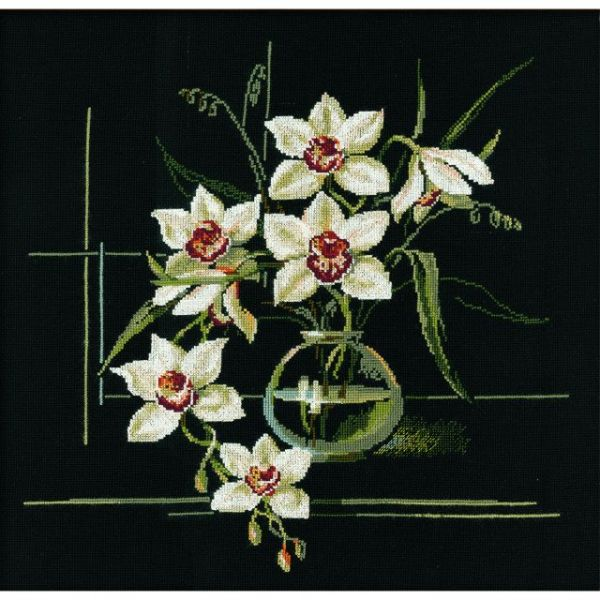 Riolis White Orchid Counted Cross Stitch Kit