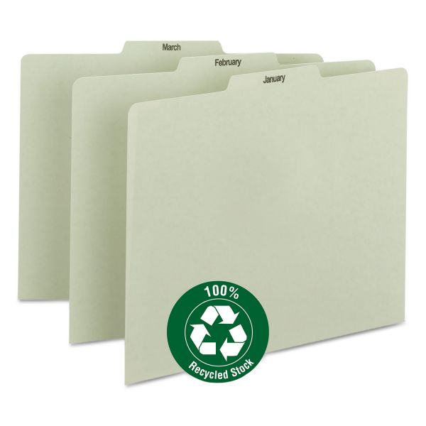 Smead Recycled Top Tab File Guides, Monthly, 1/3 Tab, Pressboard, Letter, 12/Set
