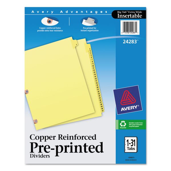 Avery Preprinted Laminated Tab Dividers w/Copper Reinforced Holes, 31-Tab, Letter
