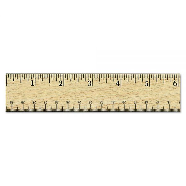 "Universal Flat Wood Ruler w/Double Metal Edge, 12"", Clear Lacquer Finish"