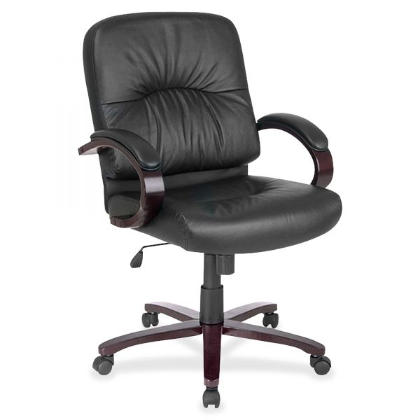 Lorell Woodbridge Series Leather Managerial Mid-Back Office Chair