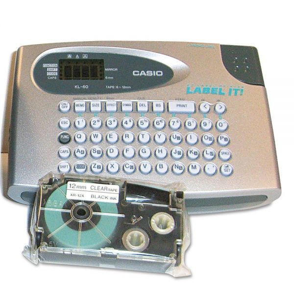 "Casio KL60SR Compact EZ-Label Maker, 1/2"" Labels"