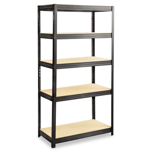 Safco Boltless Steel/Particleboard Shelving, Five-Shelf, 36w x 18d x 72h, Black