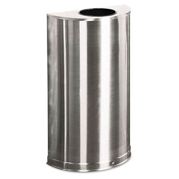 Rubbermaid Metallic Series Half-Round Open-Top 12 Gallon Trash Can