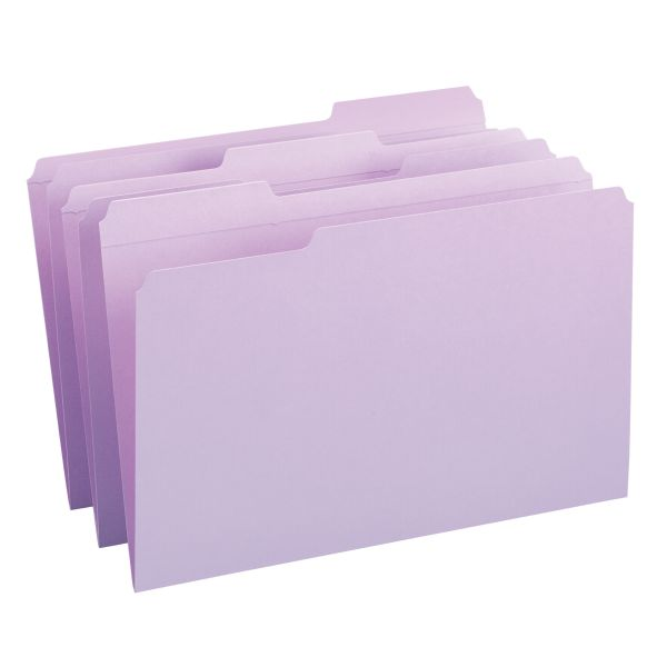 Smead Lavender Colored File Folders with Reinforced Tab