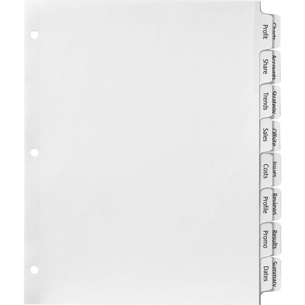 Avery Print & Apply Clear Label Dividers w/2-Column Tabs