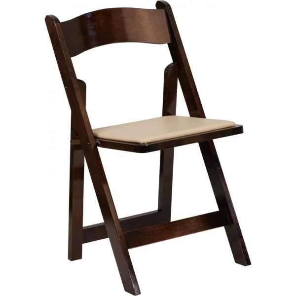 Flash Furniture HERCULES Series Fruitwood Wood Folding Chair with Vinyl Padded Seat