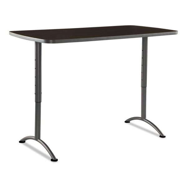 Iceberg ARC Sit-to-Stand Tables, Rectangular Top, 30w x 60d x 30-42h, Walnut/Gray