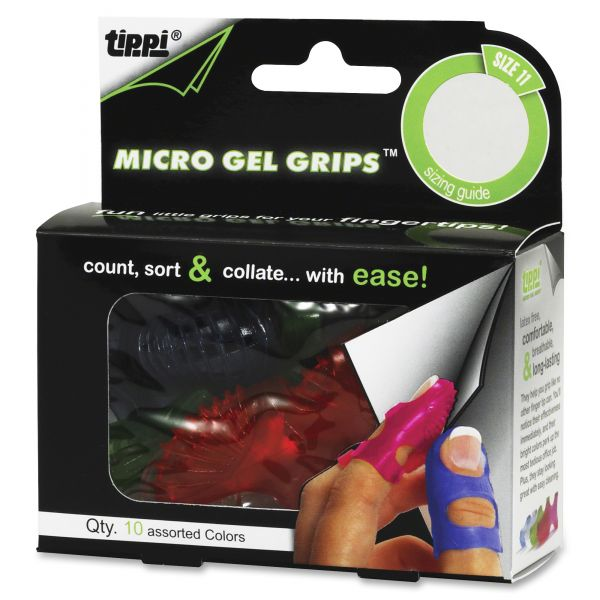 LEE Tippi Micro-Gel Fingertip Grips, Size 11, X-Large, Assorted, 10/Pack