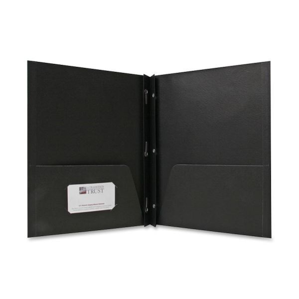 Sparco Black Two Pocket Folders with Fasteners