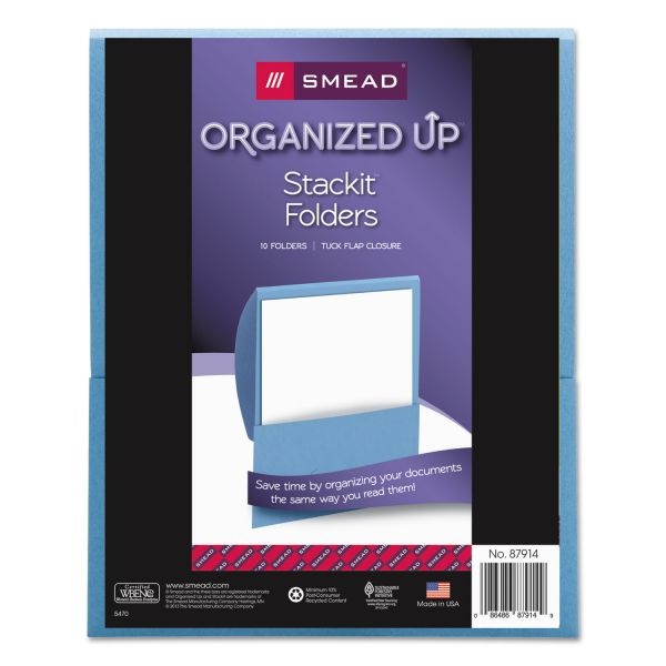 Smead Organized Up Stackit Folder, Textured Stock, 11 x 8 1/2, Blue, 10/Pack