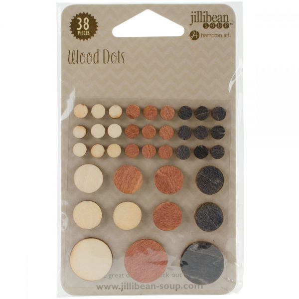 Mushroom Medley Wooden Dots 38/Pkg