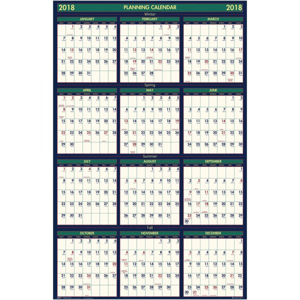 House of Doolittle Recycled 4 Seasons Reversible Business/Academic Wall Calendar, 24x37, 2017-2018