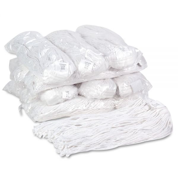 Boardwalk Premium Cut-End Wet Mop Heads, Rayon, 20oz, White, 12/Carton