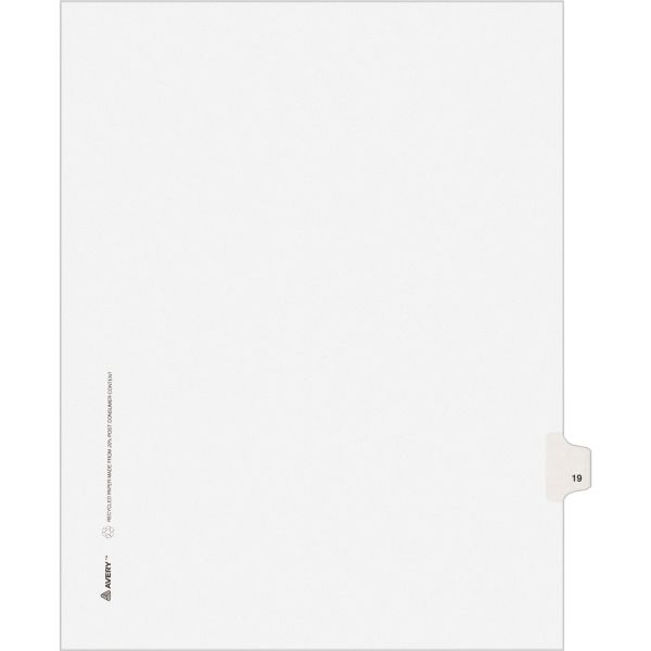 Avery Allstate-Style Legal Exhibit Side Tab Divider, Title: 19, Letter, White, 25/Pack