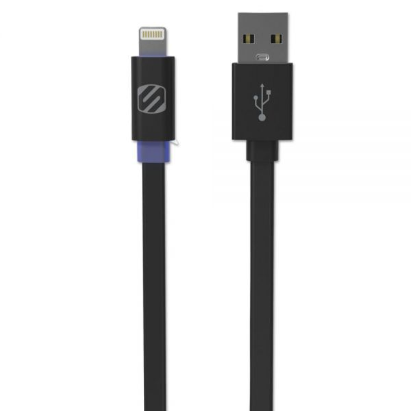 Scosche flatOUT LED Charge/Sync Cable with Charge LED for Lightning USB Devices, 3 ft