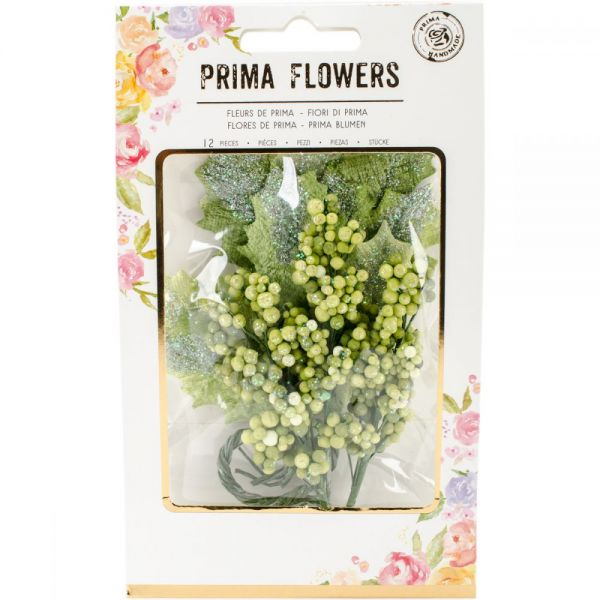 Prima Marketing Glittered Leaf & Berry Stems