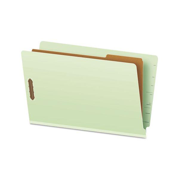 Pendaflex Pressboard End Tab Classification Folders, Legal, 1 Divider, Pale Green, 10/Box