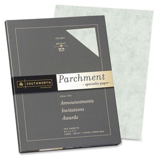 Southworth Colors + Textures Fine Parchment Paper, Celery, 24lb, Letter, 100 per Pack