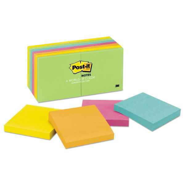Post-it Notes Original Pads in Jaipur Colors, 3 x 3, 100-Sheet, 14/Pack