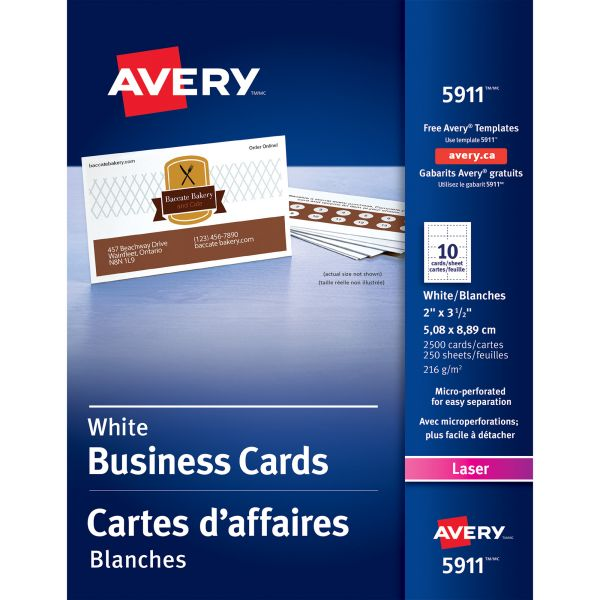 Avery Printable Microperf Business Cards, Laser, 2 x 3 1/2, White, Uncoated, 2500/Box