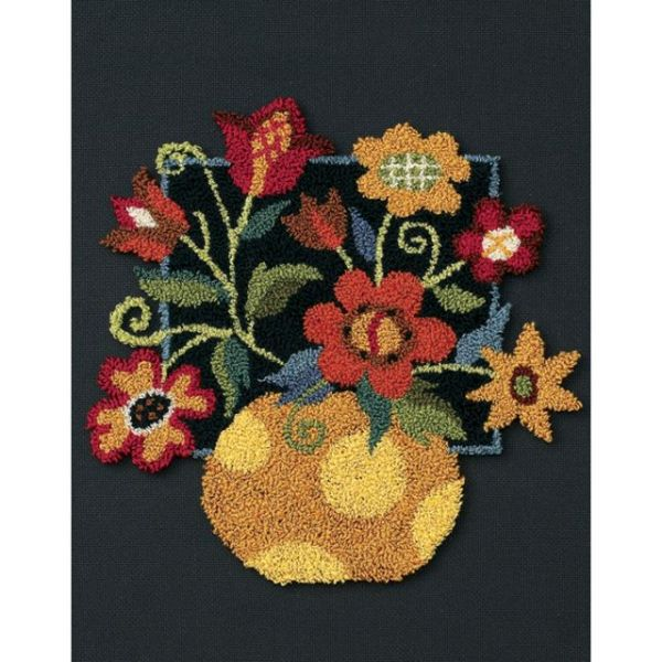 Floral On Black Punch Needle Kit