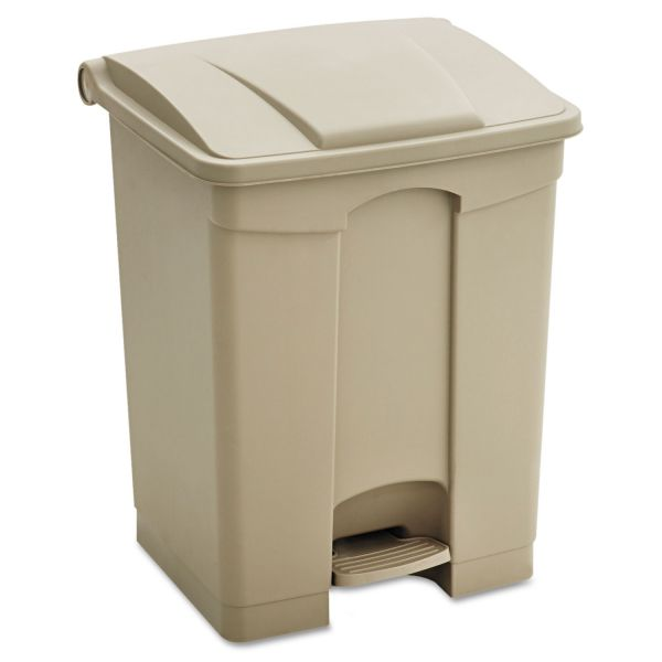 Safco Large Capacity Plastic Step-On Receptacle, 23gal, Tan
