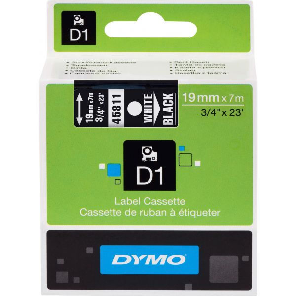"""DYMO D1 High-Performance Polyester Removable Label Tape, 3/4"""" x 23 ft, White on Black"""