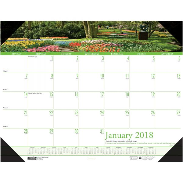 House of Doolittle Recycled Gardens of the World Photo Monthly Desk Pad Calendar, 22 x 17, 2018