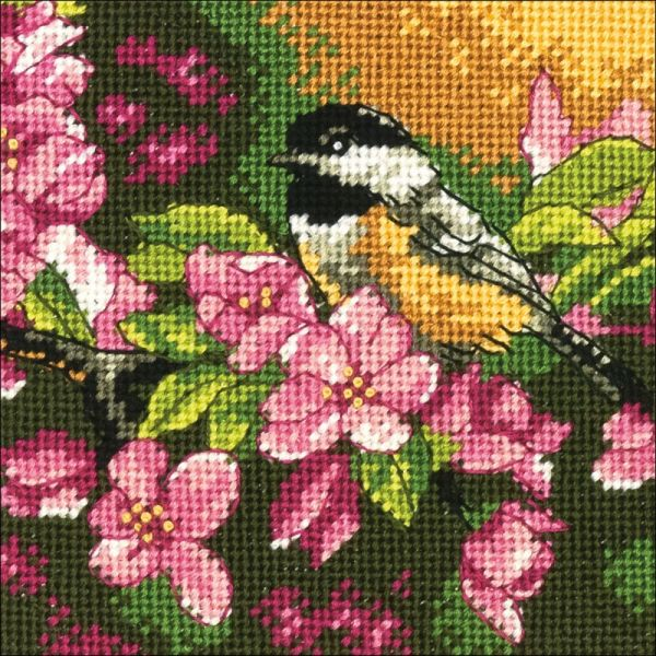 Chickadee In Pink Mini Needlepoint Kit