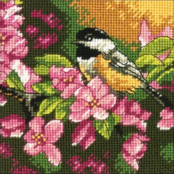 Chickadee In Pink Mini Needlepoint Kit