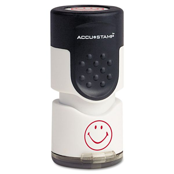 "ACCUSTAMP Pre-Inked Round Stamp, Smiley, 5/8"" dia., Red"
