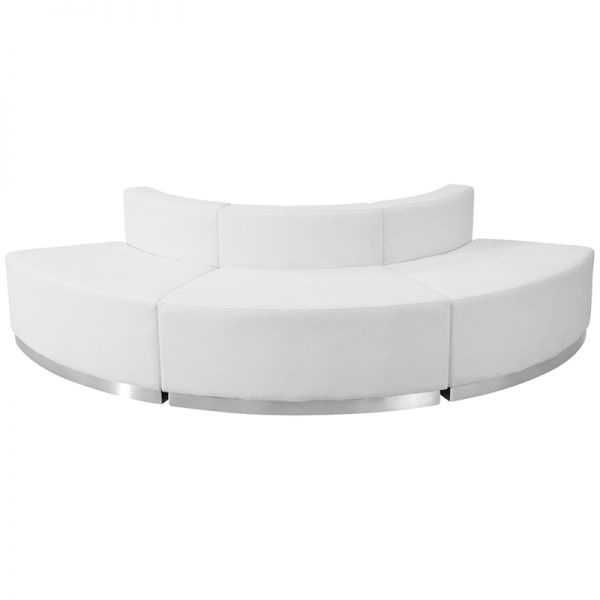Flash Furniture HERCULES Alon Series Melrose White Leather Reception Configuration, 3 Pieces