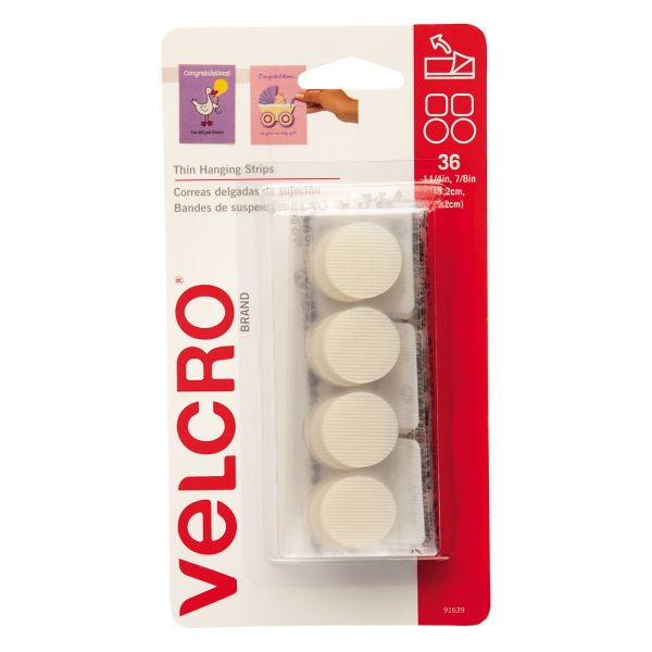 """Velcro Removable Hook & Loop Fasteners, 1 1/4"""" Square & 7/8"""" Coin, White, 36 Sets"""