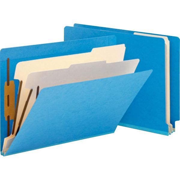 Smead Blue 2-Divider End Tab Classification Folders