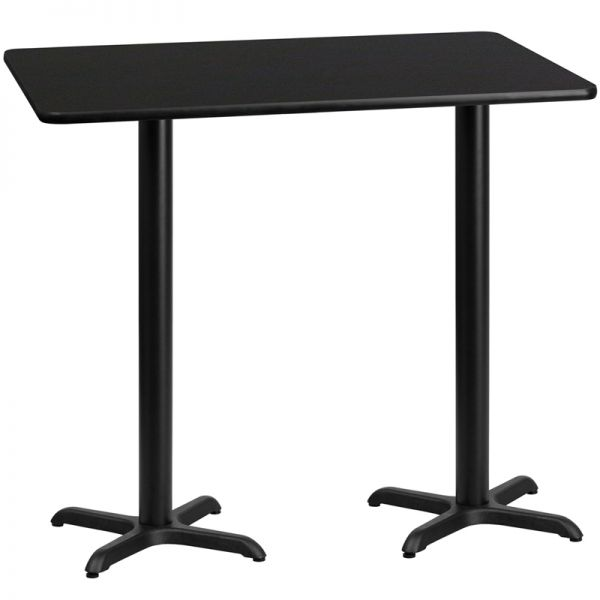Flash Furniture 30'' x 60'' Rectangular Black Laminate Table Top with 22'' x 22'' Bar Height Table Bases