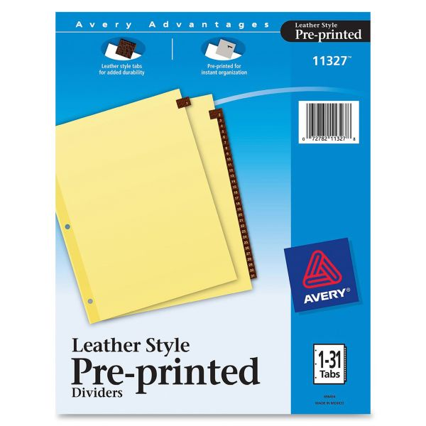 Avery Leather Numbered Tab Index Dividers