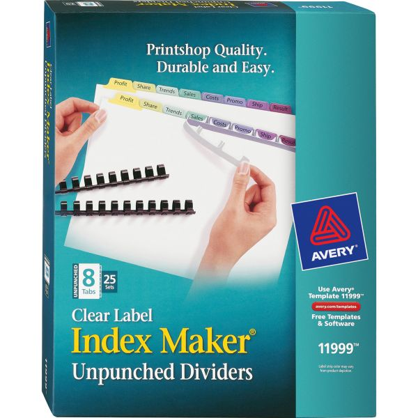 Avery Clear Label Index Maker Unpunched Tab Dividers