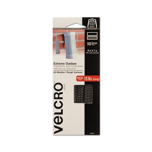"""Velcro Extreme Hook & Loop Fasteners, 1"""" x 4"""" Strip, Titanium, 10/Pack"""