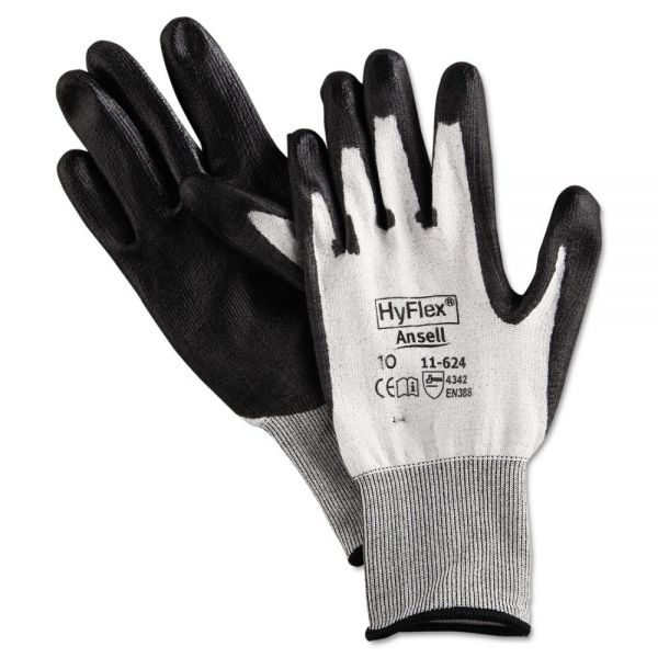 AnsellPro HyFlex Dyneema Cut-Protection Gloves, Gray, Size 10, 12 Pairs