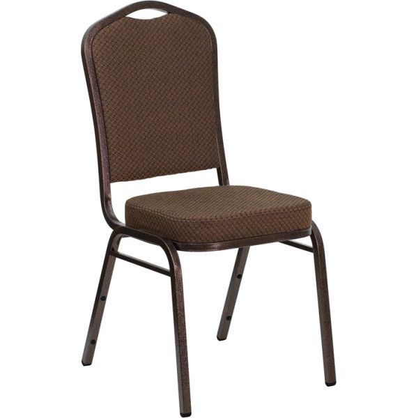 Flash Furniture HERCULES Series Crown Back Stacking Banquet Chair with Brown Patterned Fabric and 2.5'' Thick Seat - Copper Vein Frame