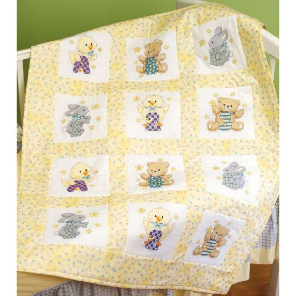 "Stamped Cross Stitch Quilt Blocks 9""X9"" 12/Pkg"