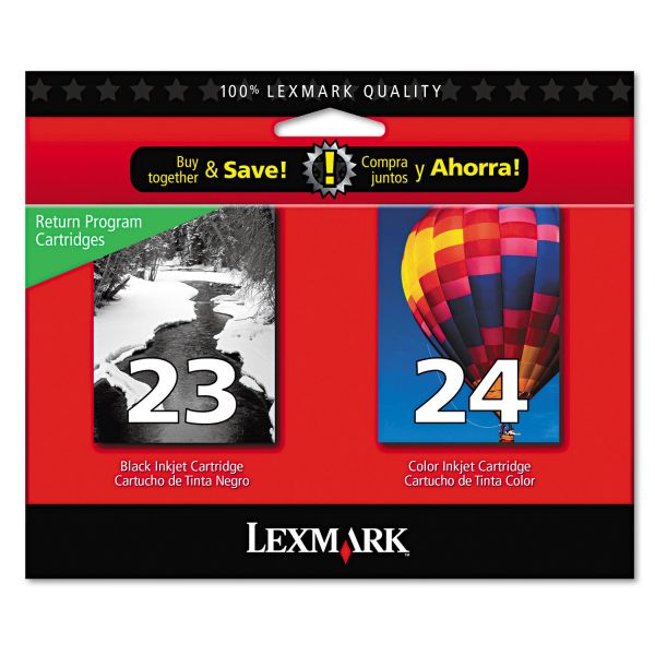 Lexmark #23 Black/#24 Color Combo Pack Return Program Ink Cartridges