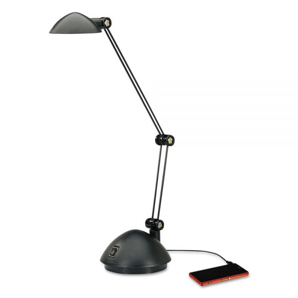 "Alera Twin-Arm Task LED Lamp with USB Port, 18 1/2"" High, Black"