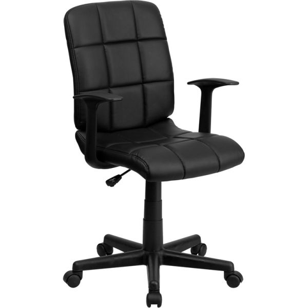 Flash Furniture Mid-Back Quilted Vinyl Swivel Task Chair with Nylon Arms