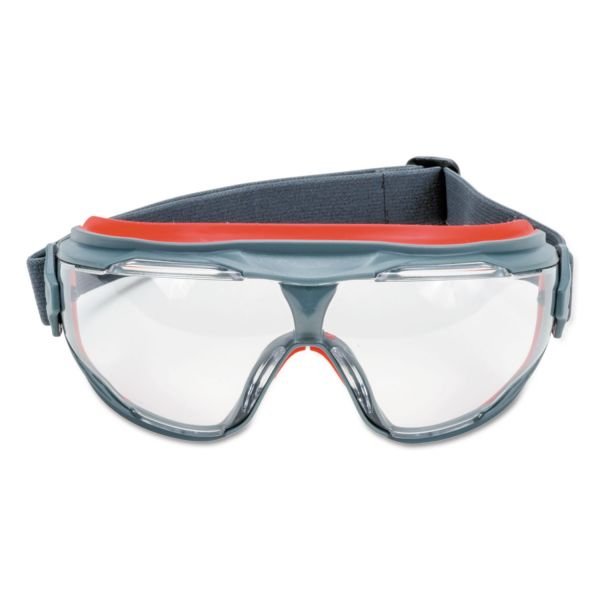 3M GoggleGear 500Series Safety Goggles, AntiFog, Red/Black Frame, Clear Lens,10/Ctn