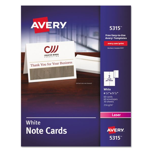 Avery Note Cards, Laser Printer, 4 1/4 x 5 1/2, Uncoated White, 60/Pack with Envelopes