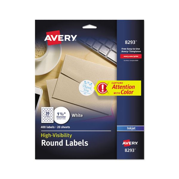 Avery Vibrant Color-Printing Round Address Labels, 1 1/2 dia, White, 400/Pack